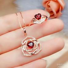 925 sterling silver real Natural garnet Jewelry Sets rings pendants send necklace fine new women wholesale gift ctz06069992ags(China)