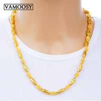 Fine 24K gold Men Necklace Chains 2018 Fashion design Gold Color hollow Long Necklace Chain Charm collares male custom Jewelry