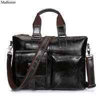 Maillusion Men Shoulder Bag Vintage Genuine Leather Men Bag Brand Vintage Crossbody Bags Male Briefcase Clutch