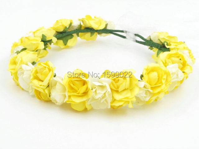 Yellow Ivory Women Paper Flower Crown Head Garland Headpiece Wedding