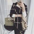 2016 мода осень и зима двусторонний плед шарф элегантный тепловой утолщение кашемир негабаритных мыс женщина