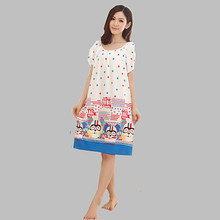 Nightgowns For Women Long Cartoon Girls Nightwear Nightdress Cotton And Silk Sleepshirt Summer Dress Vetement Femme Q623