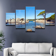 Canvas Wall For Living Room Nordic Decoration Picture New Art 5 Panel Tree Seaview Cuadros Modular Poster Painting