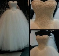 2017 White Ivory Lace Strapless Wedding Dresses Corset Bodice Sheer Bridal Ball Pearl Beads Tulle Wedding