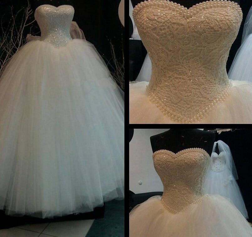 2018 Nové bílé slonovinové krajky bez ramínek svatební šaty Korzet Bodice čiré svatební koule Perlové korálky Tulle Svatební šaty velikost 2-22W