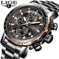 Relojes New LIGE Fashion Mens Watches Luxury Brand Business Quartz Watch Men Sports Military Waterproof Big Dial Male Watch+Box