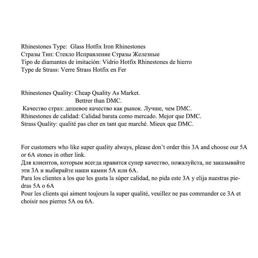 คริสตัลปราสาทการแข่งขันHot Fix Rhinestoneสำหรับเสื้อผ้าสีขาวโปร่งใสคริสตัลHotfix Strass DIY Rhinestones