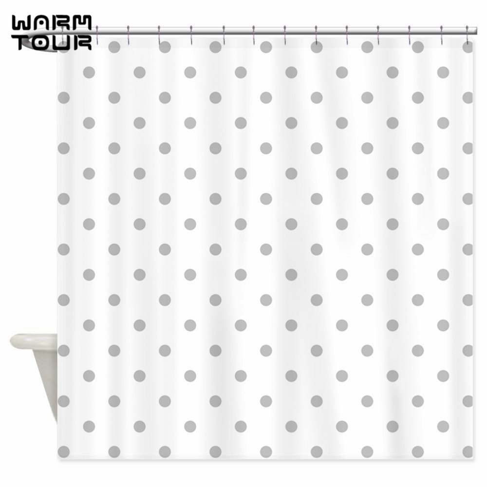 Warm Tour Light Gray Dot Pattern Decorative Fabric Shower Curtains Simple Polyester Waterproof Bathroom Curtain WTC119