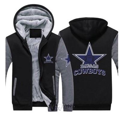 06b516395 Dropshipping Men Women Steelers Broncos Cowboys Hoodies Zipper Sweatshirts  Jacket Printed Winter Thicken Hooded Co