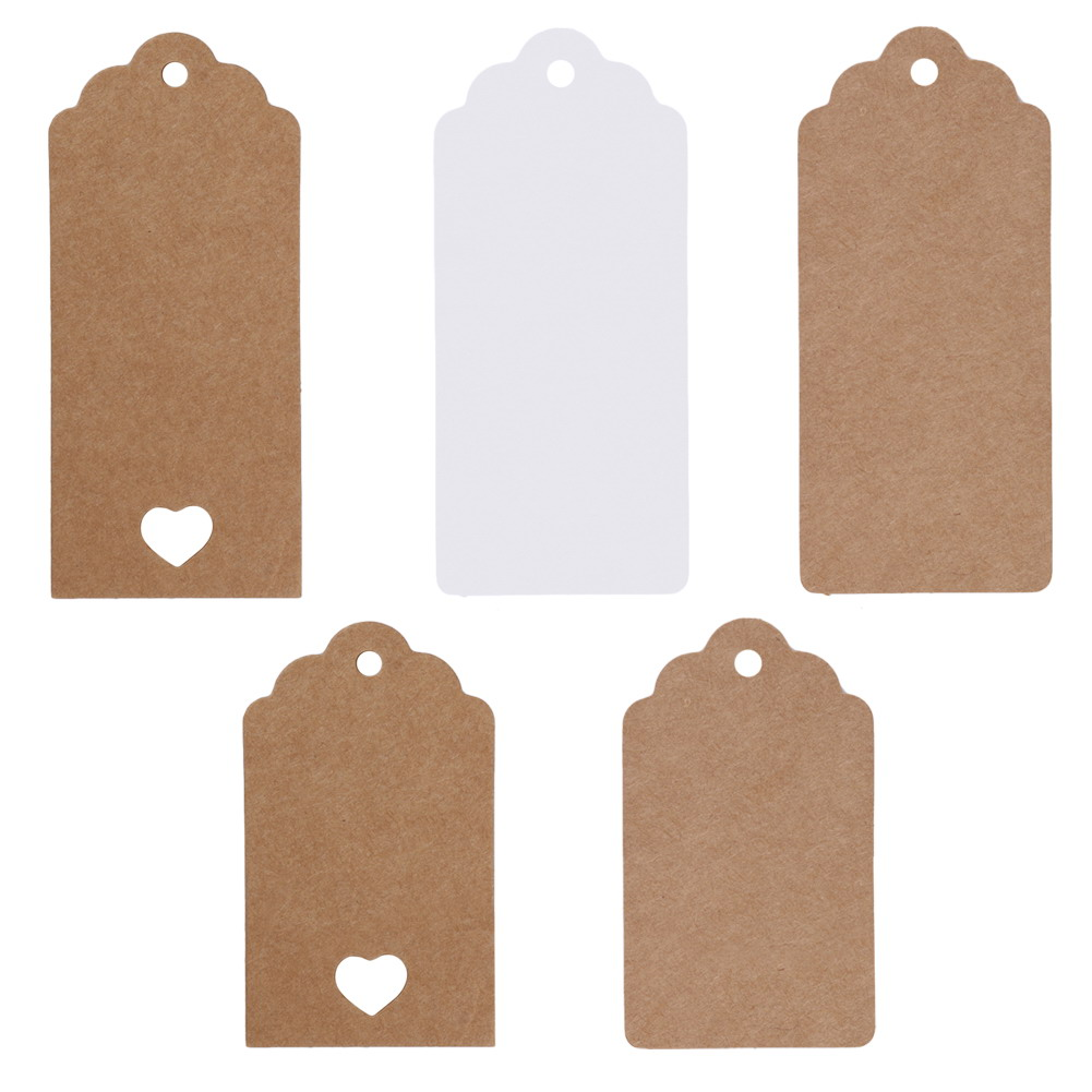 5 Style 50 Pcs DIY Kraft Paper Vintage Christmas Gift Tags Scallop Label Luggage Wedding Blank + Strings For table luggage tags garment bag