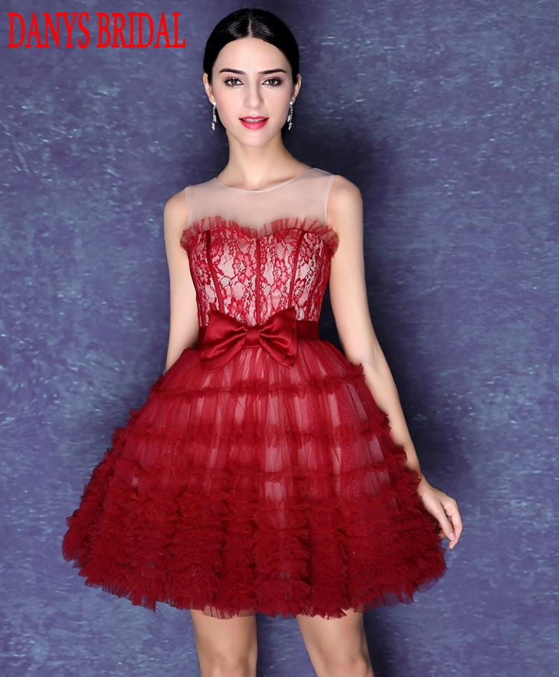 Red Fashion Short Cocktail Dresses Women Mini Evening Prom Coctail Party Dresses vestido de festa curto coctel