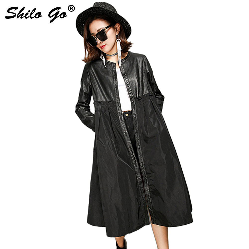 Independent 2019 Women New Slim Fit Sheep Leather Overcoat Stand Collar Fashion Patchwork Chiffon Shirt Long Sleeve Sheepskin Jackert A Wide Selection Of Colours And Designs Leather & Suede