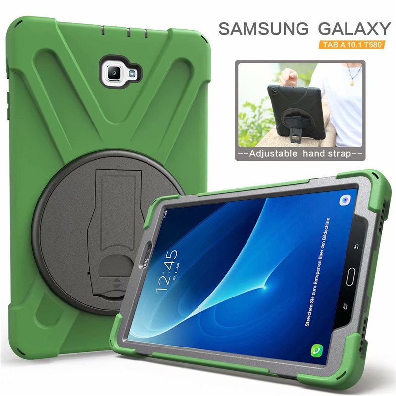new concept ee1fc de576 Amor Heavy Duty Case For Samsung Galaxy Tab A A6 10.1 2016 T585 T580 Tablet  Case GLF Soft Silicone +PC Back Cover Kickstand Case