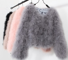 10 colors fashion sexy ostrich wool turkey fur 2015 wool coat feather fur short jacket angelababy