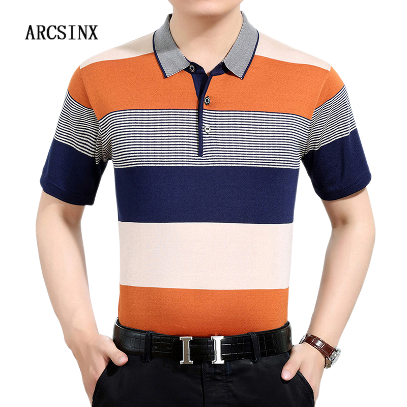 ARCSINX Striped   Polo   Shirt Men Summer   Polo   Man Short Sleeve Casual Knitted Mens   Polo   Shirts Slim Fit Men's   Polos   Tee Shirt