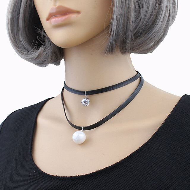 New Fashion Black Leather Choker Necklace Sexy Chain Pendant Necklace Jewelry Collares Necklace For Wome
