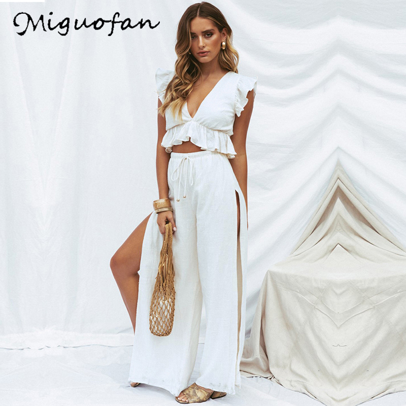 Miguofan Women Two Piece Suits <font><b>Sets</b></font> Fashion Solid <font><b>Sexy</b></font> Deep V Neck Top Split Elastic Long Pants <font><b>Sets</b></font> Suit Female <font><b>2019</b></font> <font><b>Summer</b></font> New image