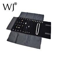 Portable Black Velvet Jewelry Set Storage Roll Bag Necklace Pendant Rings Earrings Display Holder Travel Roller