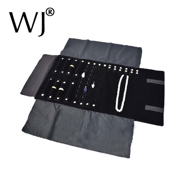 Portable Black Velvet Jewelry Set Storage Roll Bag Necklace Pendant Rings Earrings Display Holder Travel Roller