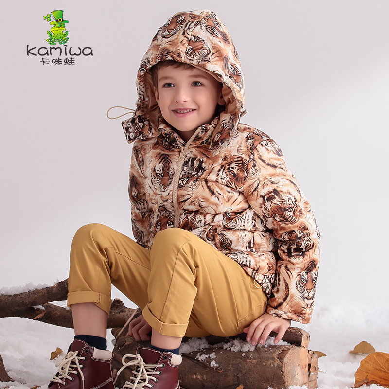 KAMIWA 2018 Tiger Pattern Baby Boys Winter Jackets And CoatsThicken Down Parkas Brand Hooded Children Clothes Kids Clothing casual 2016 winter jacket for boys warm jackets coats outerwears thick hooded down cotton jackets for children boy winter parkas