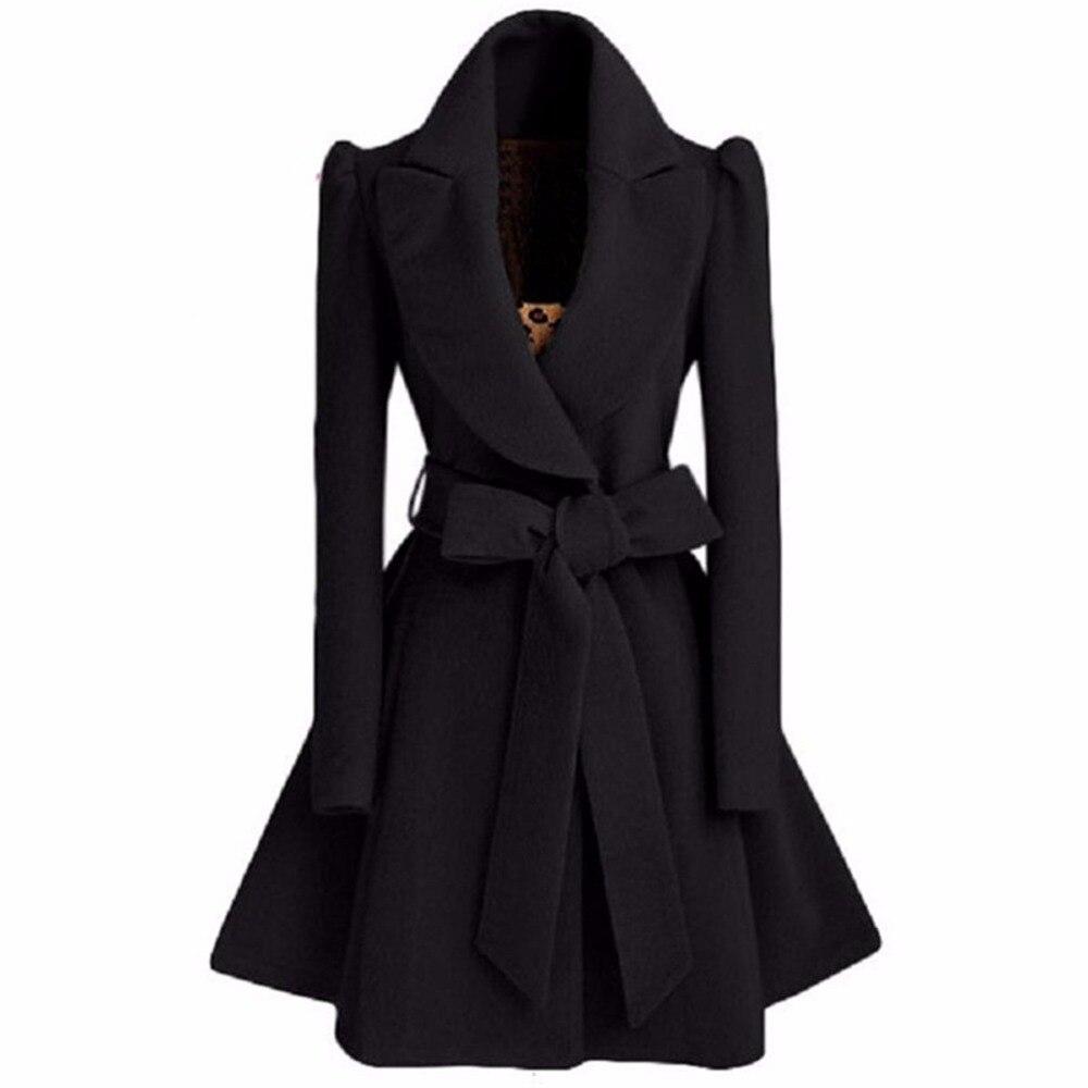 Especially Autumn Winter Blend Coat Women Slim Long   Trench   Coats Female sweet bow Belt Windbreaker Woman Cashmere