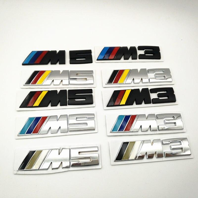YONGXUN 8.6*2cm Car styling M3 M5 Logo Car Sticker Aluminum Emblem Grill Badge for BMW E34 E36 E39 E53 E60 E90 F10 F30 M3 M5 M6 for bmw 5 series e12 e28 e34 e39 e60 e61 f10 f11 f07 523i 528i 525i chrome number letters rear trunk emblem badge sticker