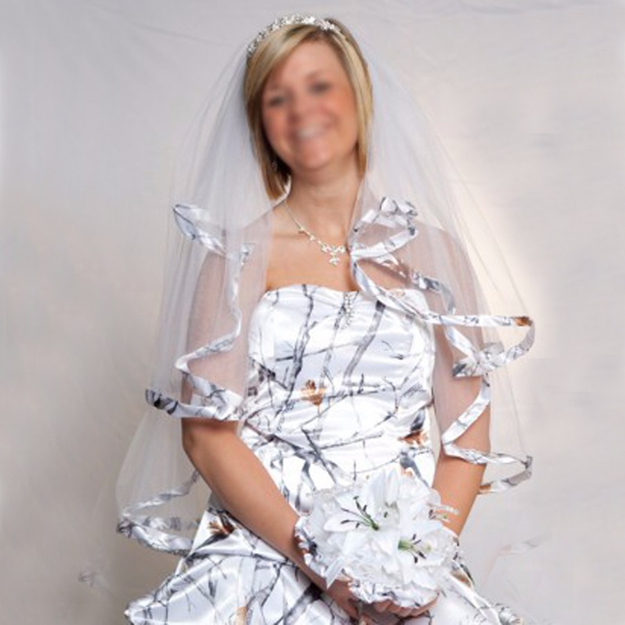 New White Camo Short Bridal Veils Real Tree Edge Elbow Length Camo Ribbon Edge Wedding Veils Hair Pieces With Comb