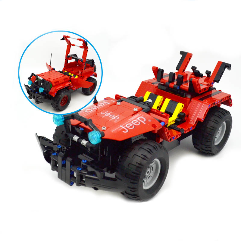 531pcs Building Block Toys Jeep Wrangler Remote control Car Assembled Blocks Toys Gift 2 IN 1 Building Blocks Red Car Model rtm875t 531