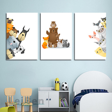 Cartoon Animals Look At You Poster Childrens Room Decoration Print Canvas Painting Picture Home Wall Art Custom