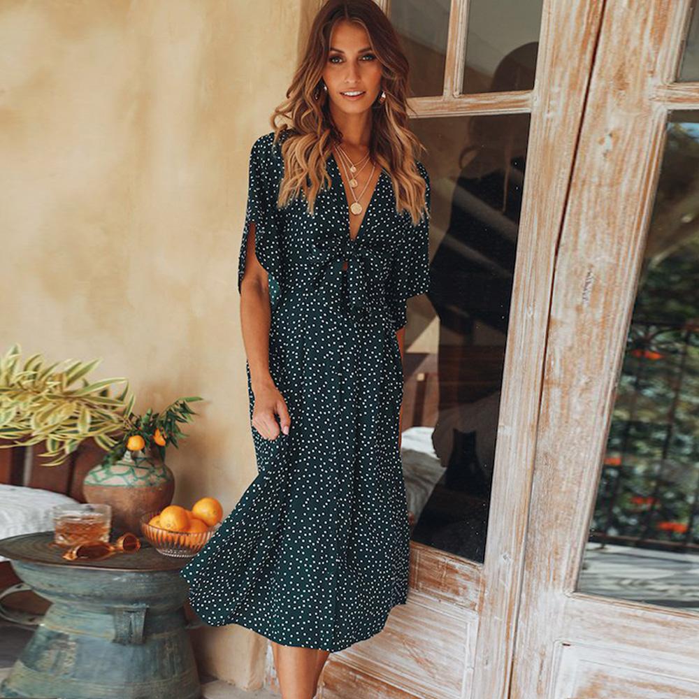 women summer casual bohemian dress Women Short Sleeve V Neck Wrap Boho Dress 11