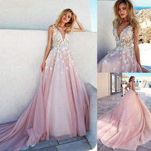 Romantic V-Neckline A-Line Wedding Dresses With Lace Beaded Handmade Flowers Cutout Open Back Long Train Pink Bridal Dress