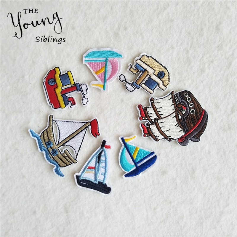 High quality embroidery patches Sail boat iron on patch badges for Clothes Bag Phone thermo-stickers Scrapbooking DIY Accessory