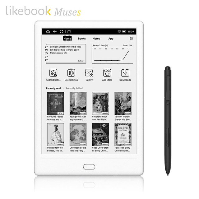 Likebook Muses e-lector con 7,8 ''300ppi e-tinta pantalla táctil 8 núcleos 1,5 GHz, cable de lápiz de regalo Android 6,0 de 2G/32 GB incorporado Audible