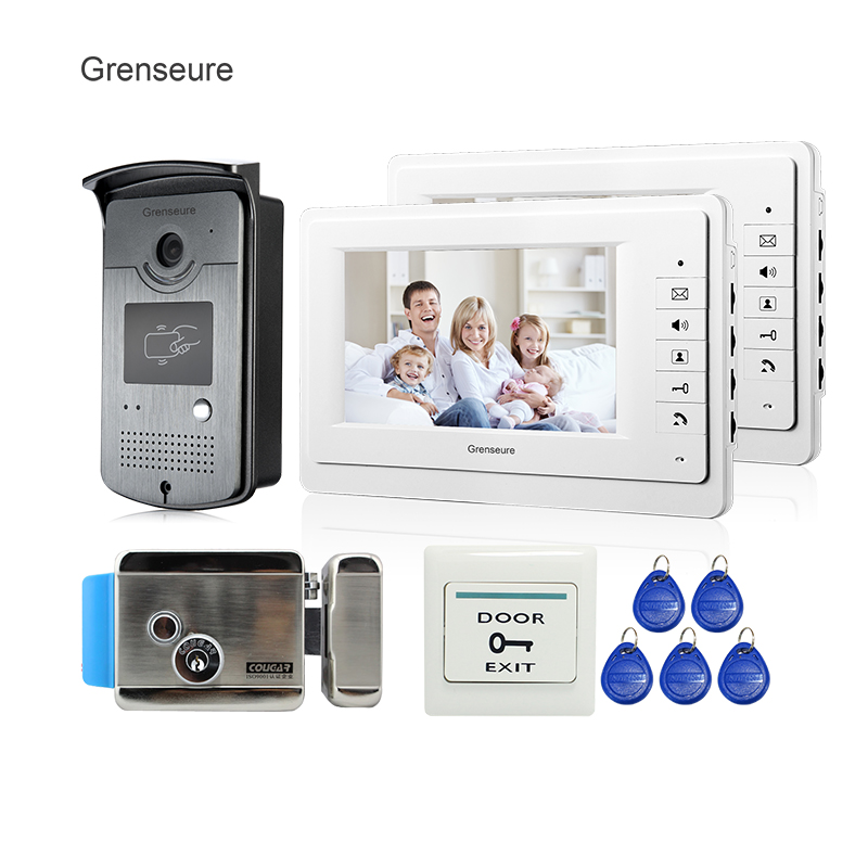 Free Shipping New Apartment 7 Video Door Phone Intercom System + 2 White Monitors + RFID Camera + Electric Door Lock In Stock jeruan home 7 video door phone intercom system kit rfid waterproof touch key password keypad camera remote control in stock