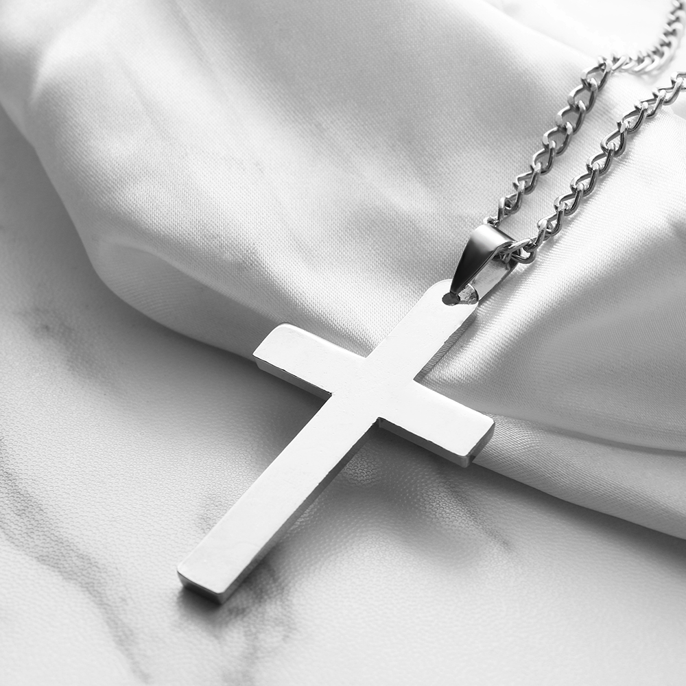 Lover Choker Unisex Metal Gold Black Cross Pendant Necklace Stainless Steel Link Chain Crucifix Jesus Necklaces Statement