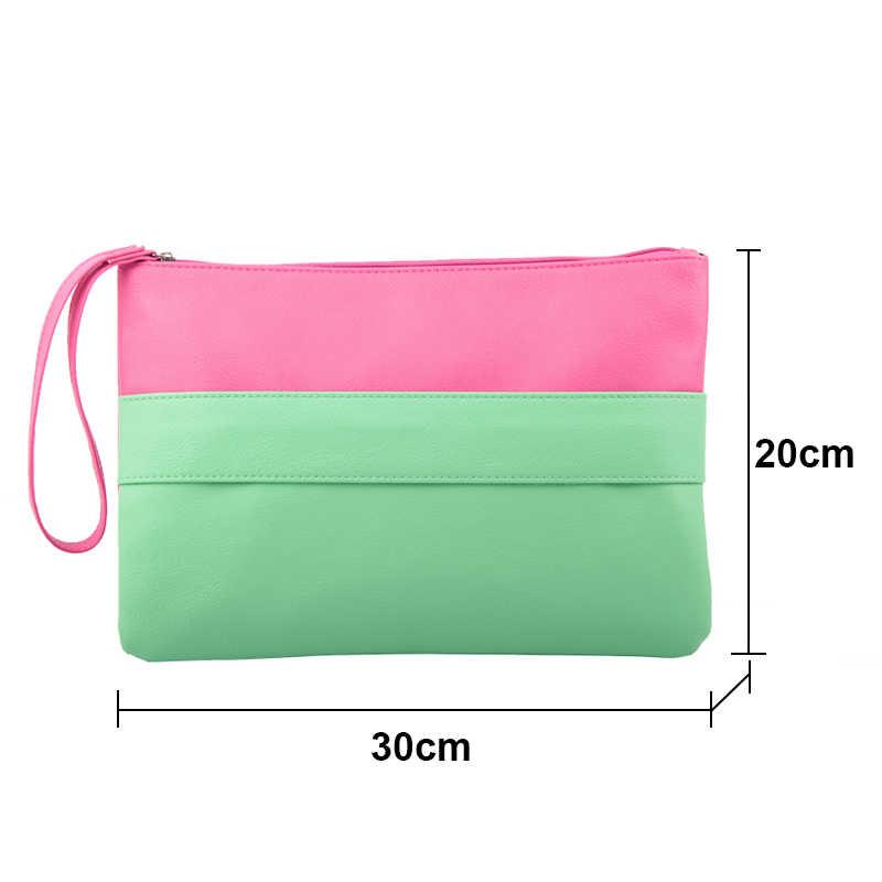 צבעים בוהקים עור נשים תיק יום מצמדי תיק Bolsa Feminina Wristlets שקיות גבירותיי מקרית טלאים Wristlet מצמד
