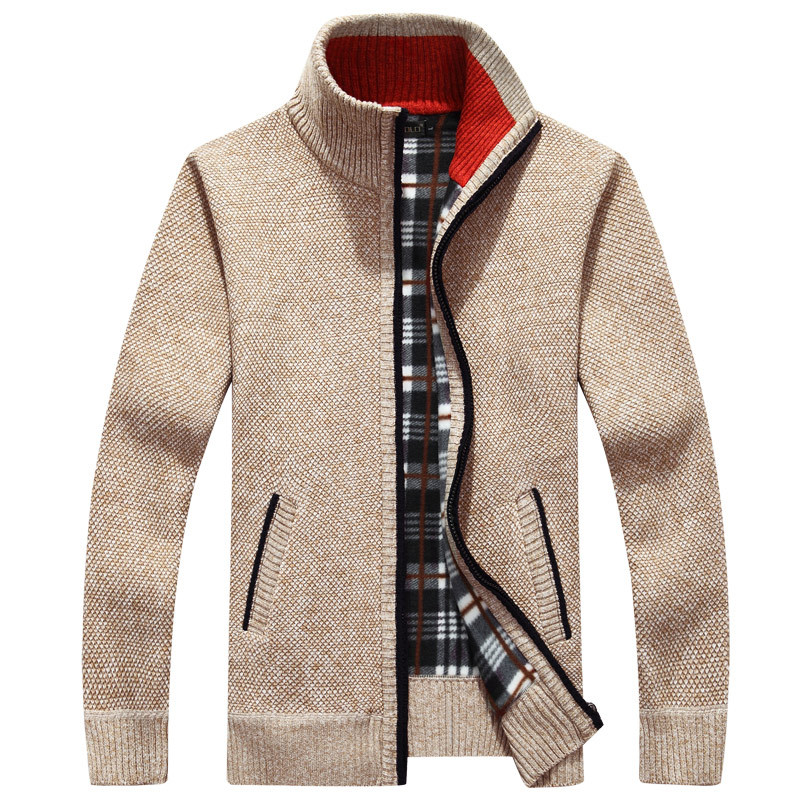 2018 Men's Jacket Autumn Winter Warm Cashmere Wool Zipper Jackets Pullover Man Casual Knitwear Sweaters Coat Plus Size M-4XL