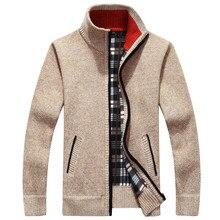 2018 Для мужчин куртка осень-зима теплый кашемир на молнии Куртки пуловер человек Повседневное трикотажные свитеры пальто плюс Размеры M-4XL