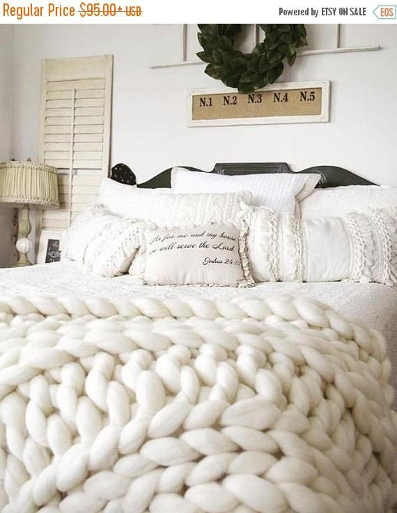 Handmade Chunky Wool Blanket King Size Knit Blanket Giant Throw