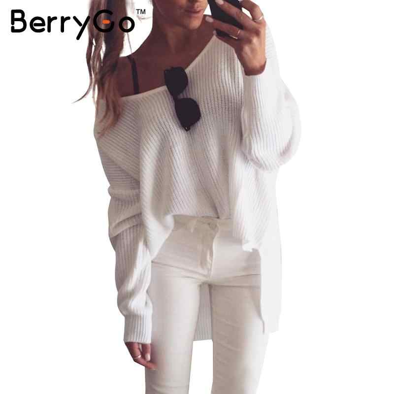 BerryGo Sexy off shoulder oversized knitted sweater Women brand black pullovers knitwear Autumn winter white jumper pull femme