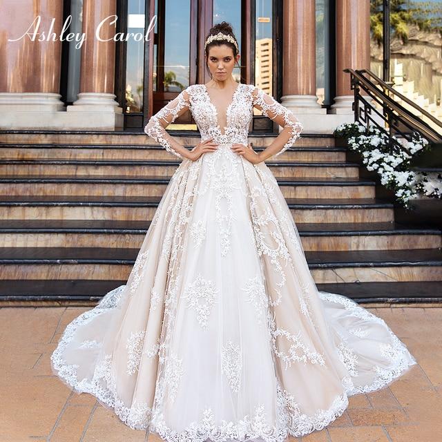 アシュリーキャロル高級ビーズレースプリンセスウェディングドレス 2020 v ネック長袖 a ラインカスタマイズされたウェディングドレス vestido デ · ノビア
