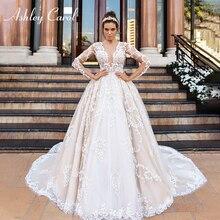 Ashley Carol หรูลูกไม้เจ้าหญิงชุด 2020 V คอแขนยาว A Line ที่กำหนดเองงานแต่งงาน Gowns Vestido De Novia