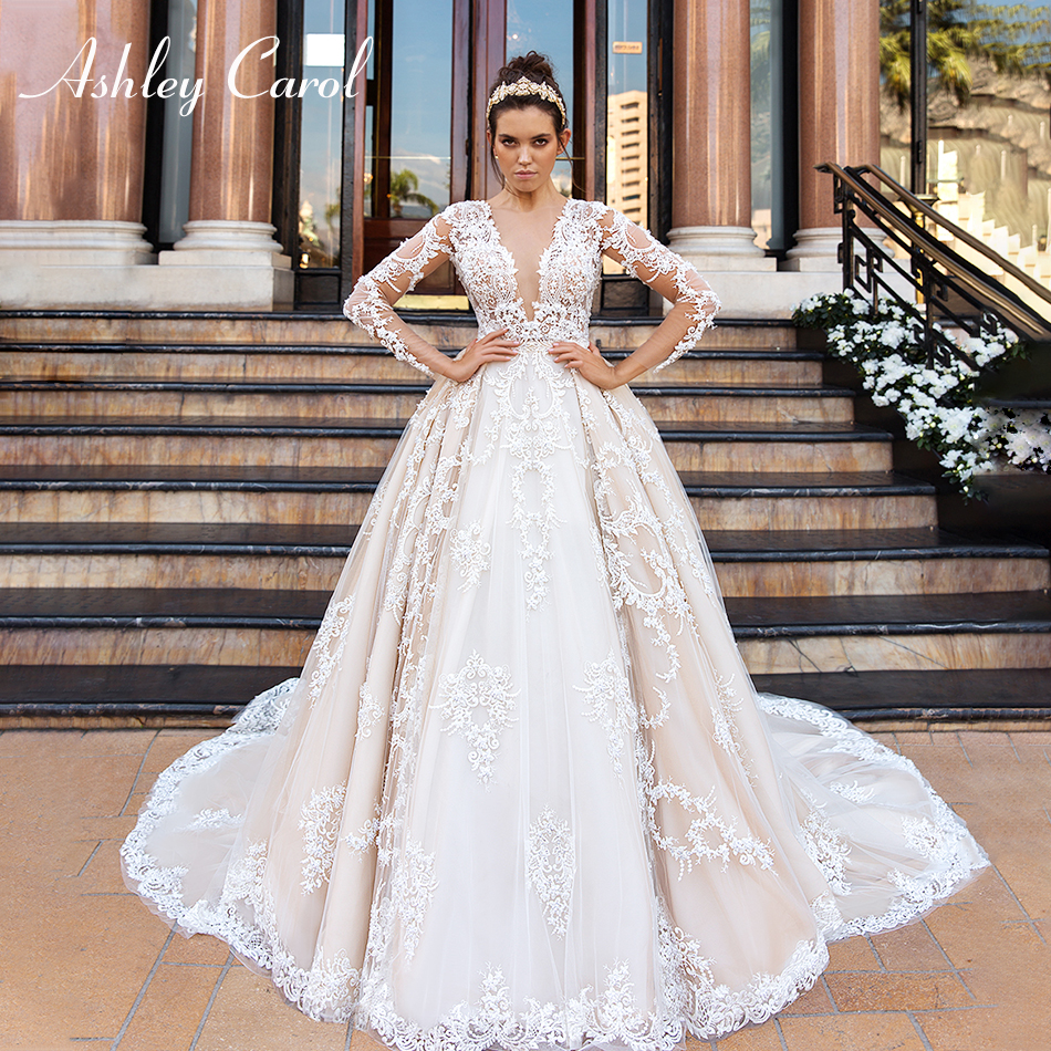 Ashley Carol Luxury Beading Lace Princess Wedding Dress 2019 Sexy V-neck Long Sleeve Romantic Wedding Gowns Vestido De Novia