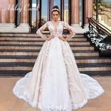 Ashley carol luxo beading vestido de casamento da princesa do laço 2020 v neck manga longa a linha vestidos de casamento personalizados vestido de novia