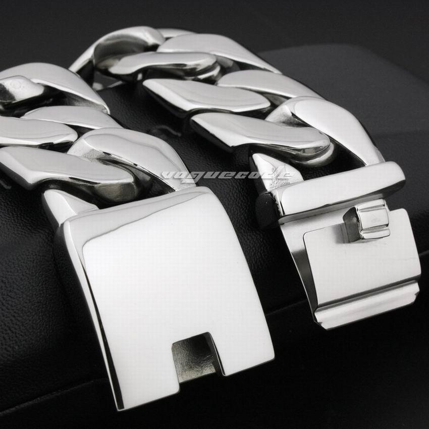 LINSION Huge Heavy 316L Stainless Steel Mens Bracelet Biker Punk Link Chain 5D002 Free Shipping