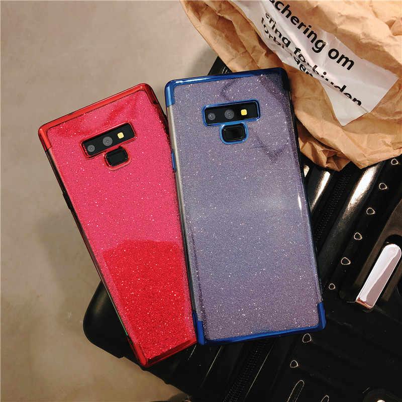 Brilho Caso de Volta de Proteção Para Samsung Nota 9 8 S10 S10E S9 S8 Plus Capa A5 A6 A7 A8 2018 m10 M20 M30 A10 A30 A50 Caso TPU