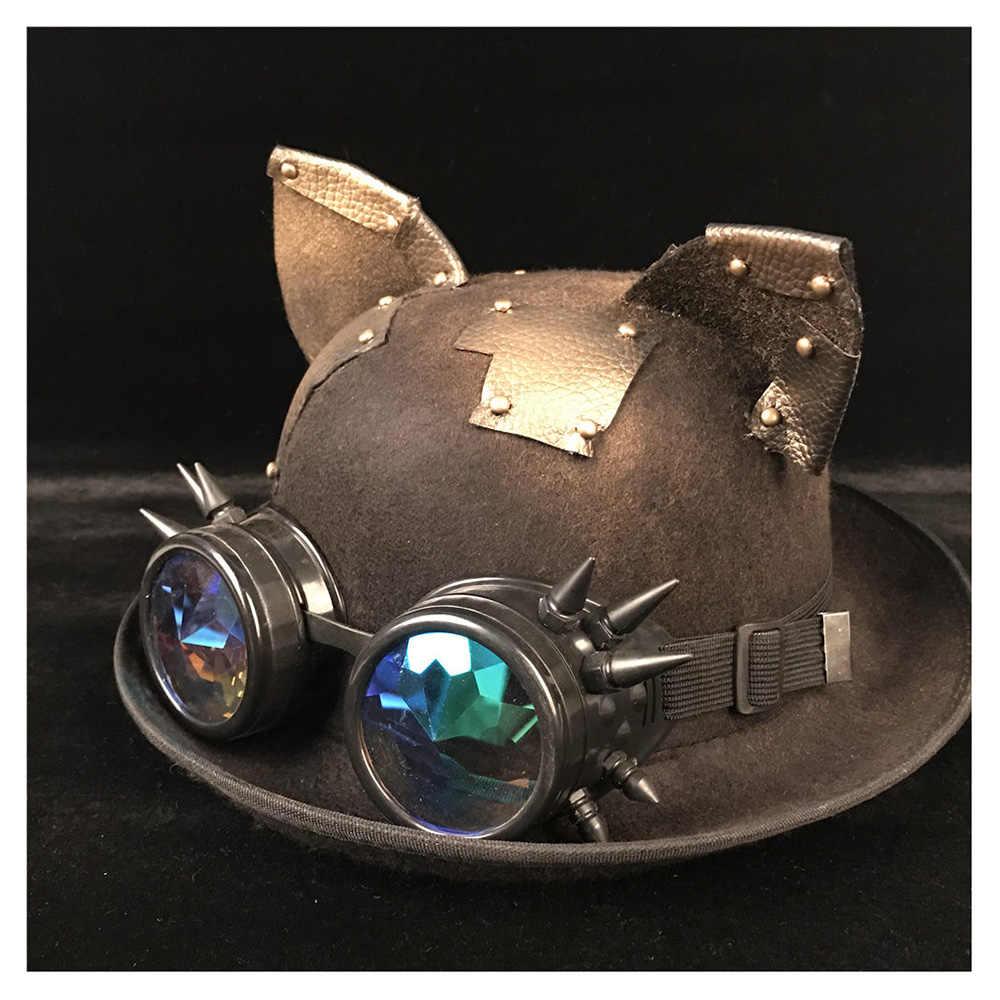 Retro Lolita Women Steampunk Bowler Hat Patch Gear Glasses Topper Top Hats  Fedora Headwear Cosplay Cat 51c17bb058ca