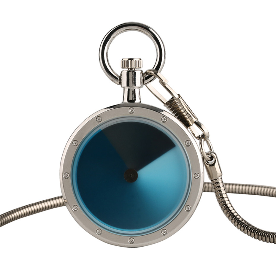 Modern Quartz Pocket Watches For Men Women Unique Stainless Steel Fashion Blue Dial Sport For Unisex Antique Gift