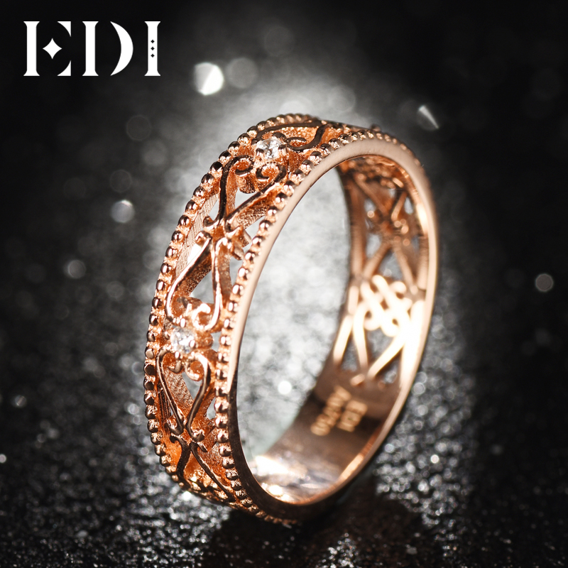 Bandas de oro rosa auténtico de 18 quilates de 0,02 cttw, anillos de boda de corte redondo para mujeres, diseño floral, regalos de joyería fina - 4