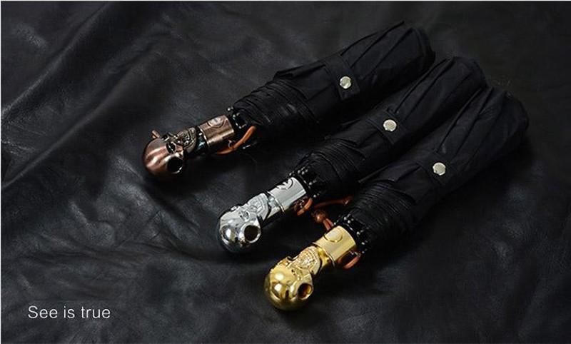 Personality Skull Head Full Automatic Umbrella Luxury Business Male Umbrella Fashion Black Coating Women Rain Sun 3 Folding Umbrella10